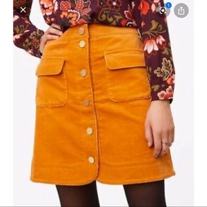 NWT LOFT Orange Gold Corduroy Button Mini Skirt 4